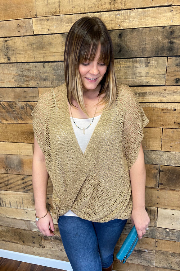 crossover knit top