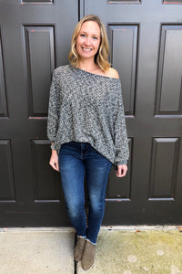 two tone dolman knit top