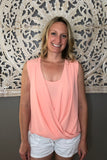 surplice sleeveless top