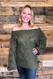 cable off the shoulder sweater