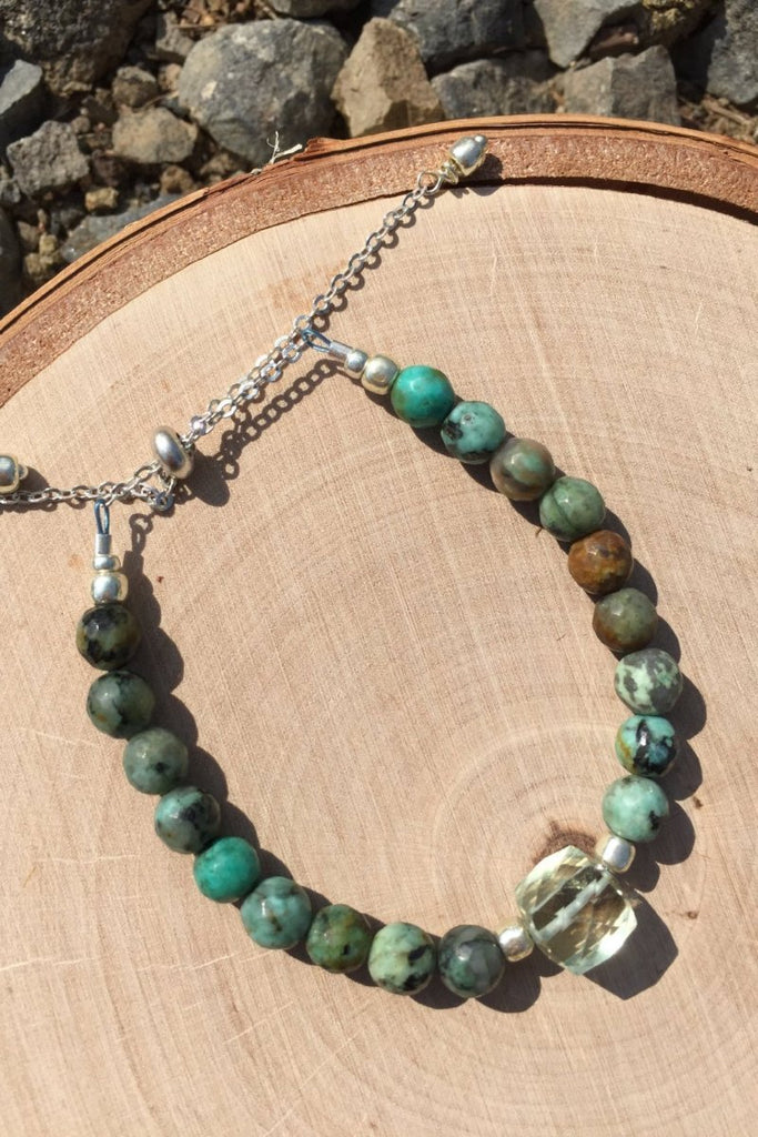 green amethyst and turquoise adjustable handmade bracelet