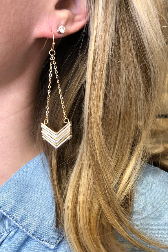 chevron mixed metal earrings