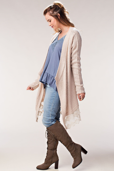 lace edge sweater cardigan