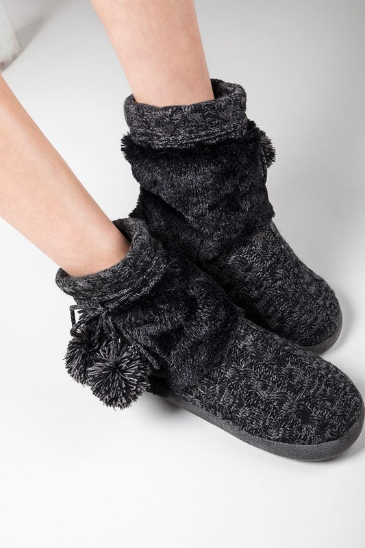 cozy slippers with pom pom tie