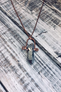 gunmetal quartz handmade pendent necklace