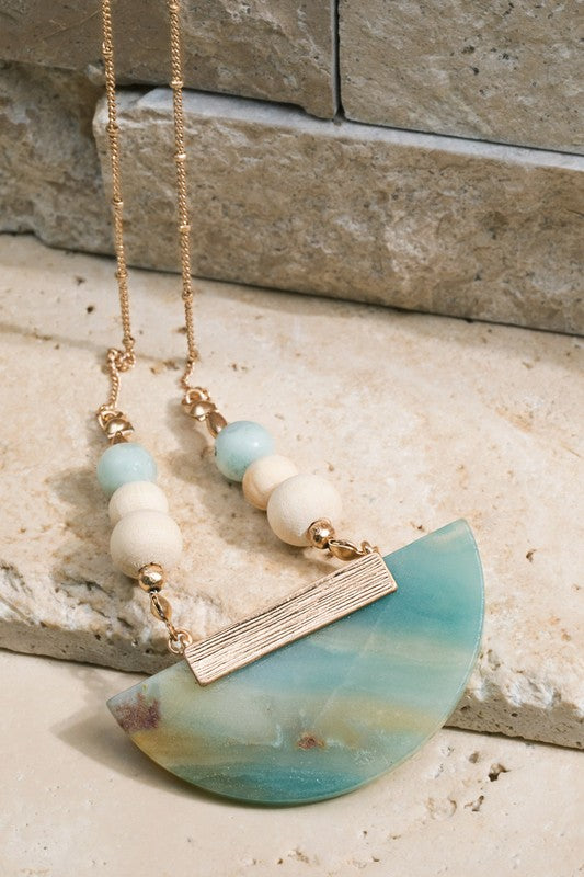 Amazonite half moon beaded necklace