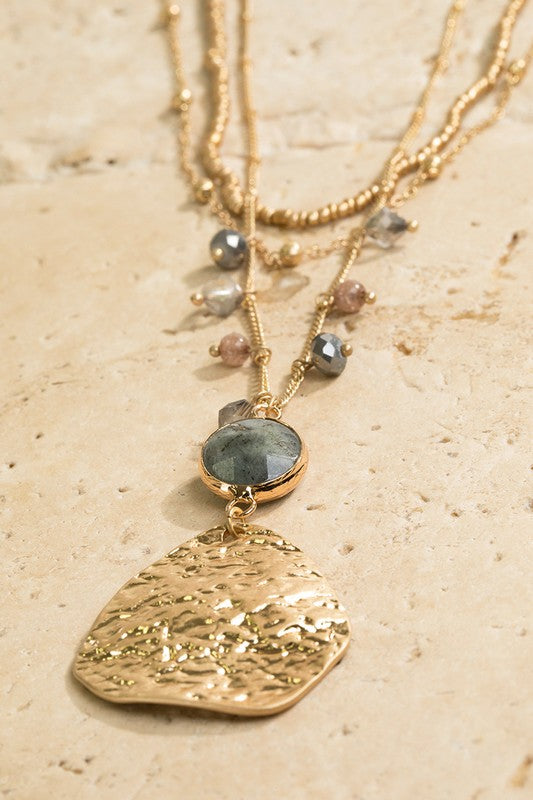 labradorite necklace layered necklace