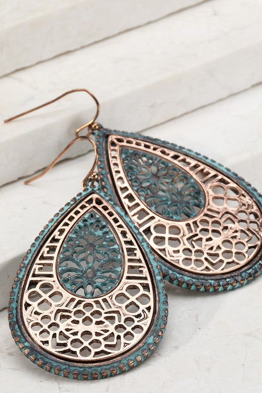 patina tear drop earrings