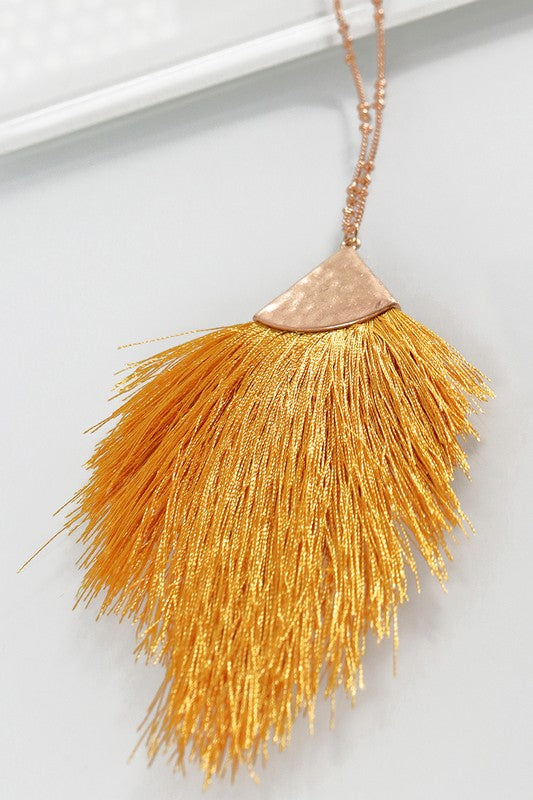 mustard thread tassel long necklace
