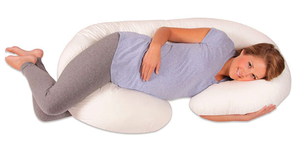 sleep with a C shaped body pillow