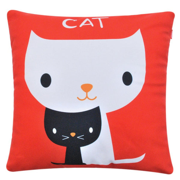 Super Soft Printing Double-faced Cute Cat Decorative Throw Pillow Case - Lovely Home