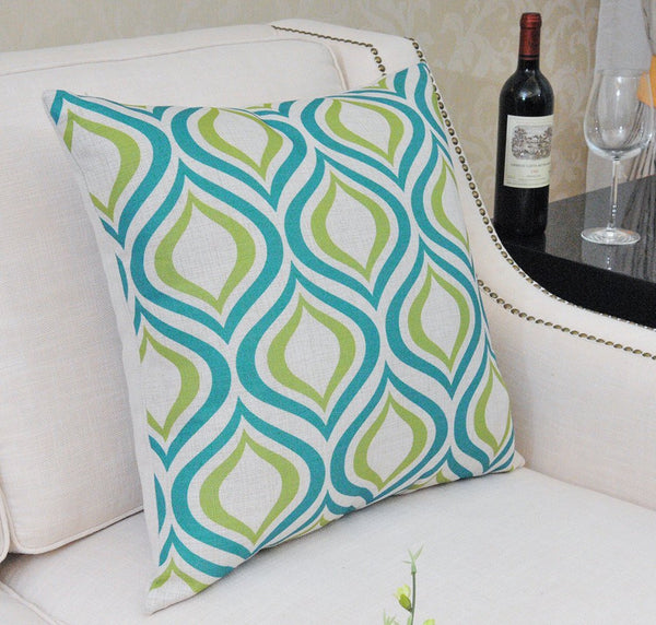 Shinnwa Green Turquoise Geometry Polyester Throw Pillow Cases - Lovely Home