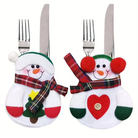 12pcs Christmas decorative Lovely Snowman Kitchen Tableware Holder Pocket Dinner Cutlery Bag Party Christmas table decoration cutlery sets