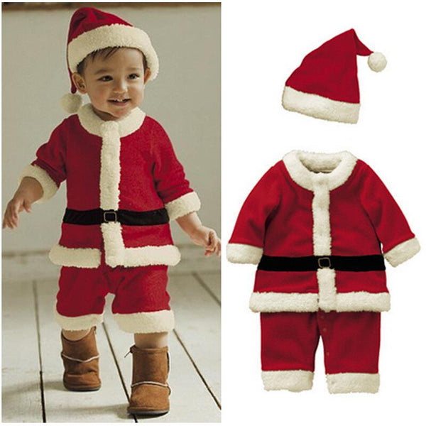 Christmas Costume Baby Boys Clothes Sets Baby Santa Claus Rompers Long Sleeve with Hat Suits Toddler Baby Clothes Warm Fleece