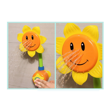 Newborns Bath Toy Sunflower Shower Nozzle Baby Bath Sprinkler Sucked Type Educational Toy