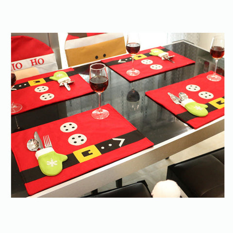 4 Pcs Christmas Table Cloth Placemats Ornaments Decorations For Home Kitchen Tableware Mats Holder Pocket Pads Red Cover
