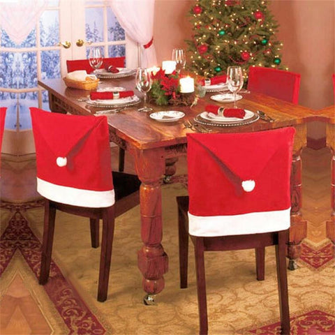 4 pcs Christmas Seat Cover Chair Santa Claus Hat Cover Dinner Christmas Decoration