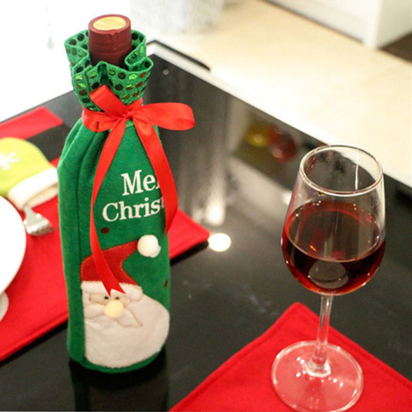 Christmas Wine Bottle Decorative Bags Dinner Party Decoration Snowman Christmas Tree Santa Claus Bottle Cover Bag