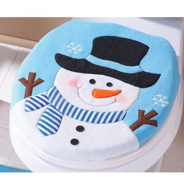New Year christmas decorations for home christmas gifts Snowman Toilet Seat Cover and Rug Bathroom Set