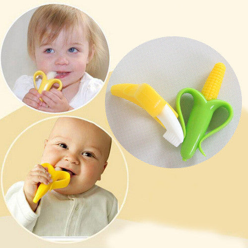 Banana and Corn Silicone Bendable Training Toothbrush - Lovely Home