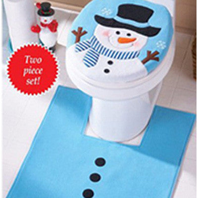 New Year Christmas Decorations Snowman Toilet Seat Cover Set - Kiddie Whimsy