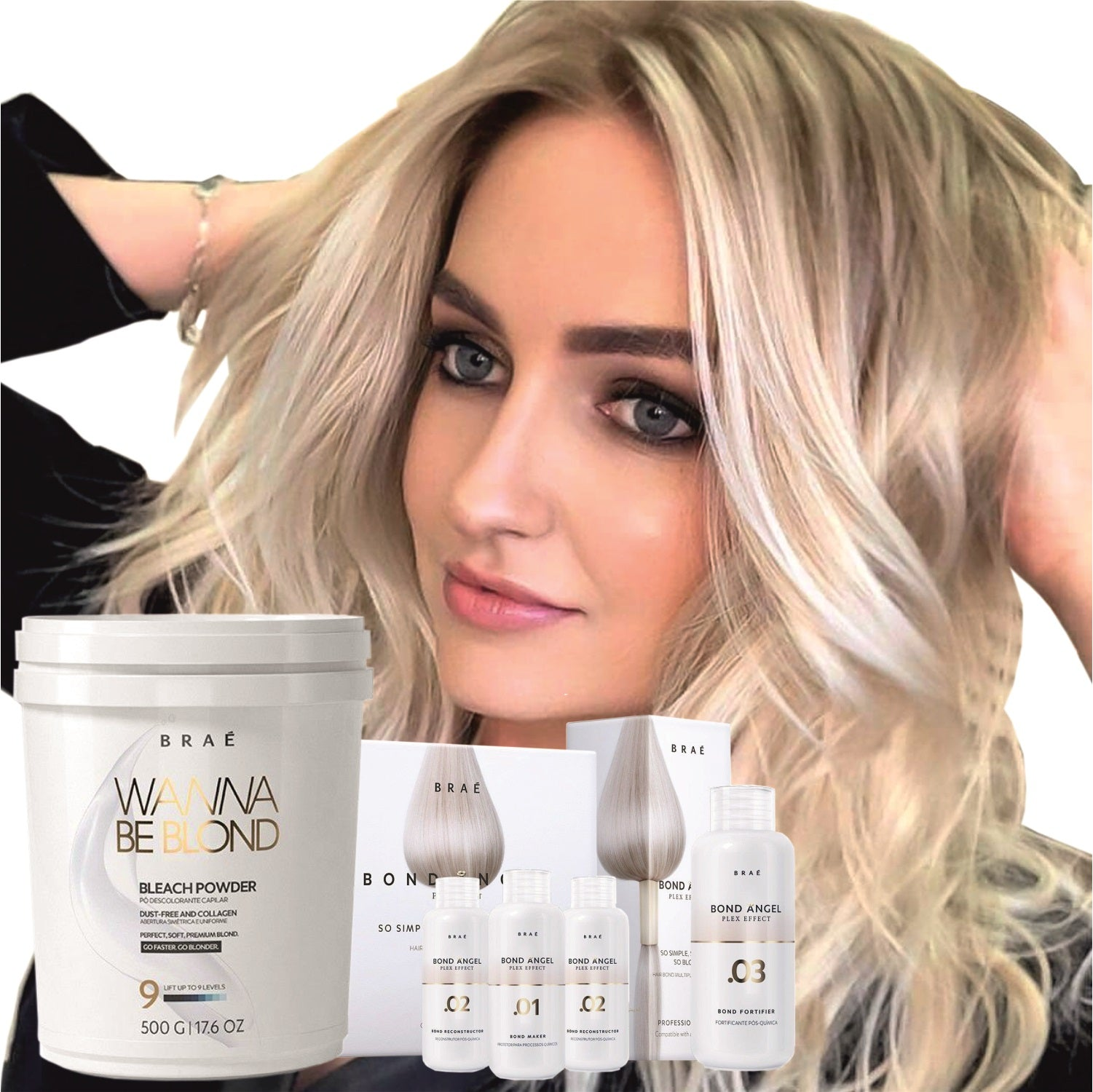 Hair Bleaching Set Powder Lightener Wanna Be Blond 17.6 oz and Bond Angel 100ml set plus Homecare - BRAE USA Home Care Step 3