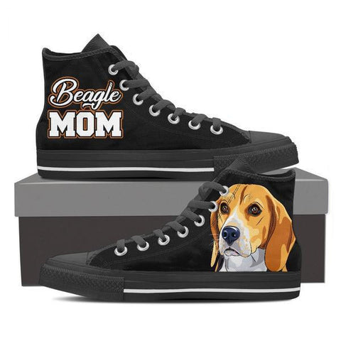 Image of Beagle Mom - Women's High Top Canvas Shoes