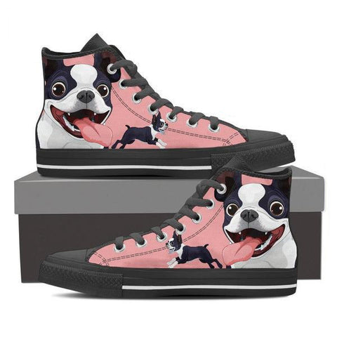 Image of Boston Terrier - Women's High Top Canvas Shoes