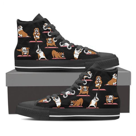 Image of Bulldog Yoga - Women's High Top Canvas Shoes