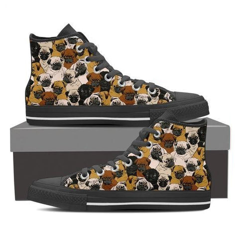 Image of Pugs - Women's High Top Canvas Shoes