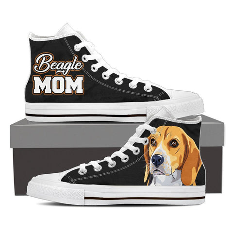 Image of Beagle Mom - Women's High Top Canvas Shoes -  High Top Canvas Shoes - EZ9 STORE