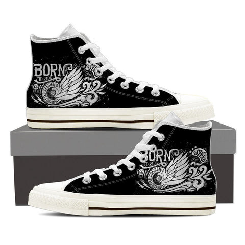 Image of Born To Ride - Men High Top Canvas Shoes -  High Top Canvas Shoes - EZ9 STORE
