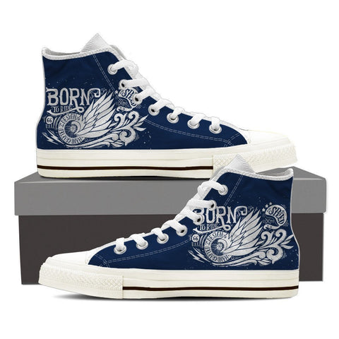 Born To Ride - Men High Top Canvas Shoes -  High Top Canvas Shoes - EZ9 STORE