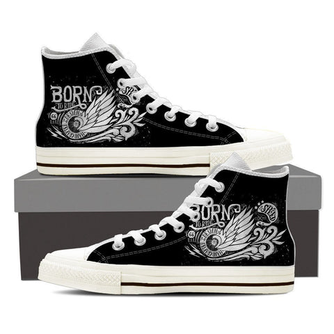 Image of Born To Ride - Women High Top Canvas Shoes -  High Top Canvas Shoes - EZ9 STORE