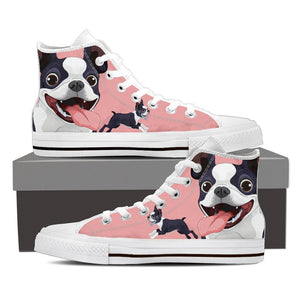 Boston Terrier - Women's High Top Canvas Shoes -  High Top Canvas Shoes - EZ9 STORE