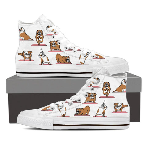 Image of Bulldog Yoga - Women's High Top Canvas Shoes -  High Top Canvas Shoes - EZ9 STORE