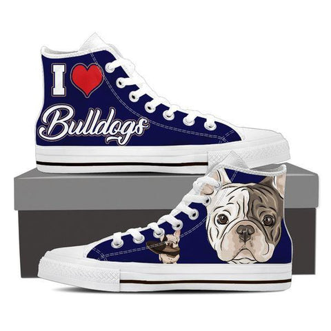 Image of Bulldogs High Top Shoes -  High Top Canvas Shoes - EZ9 STORE