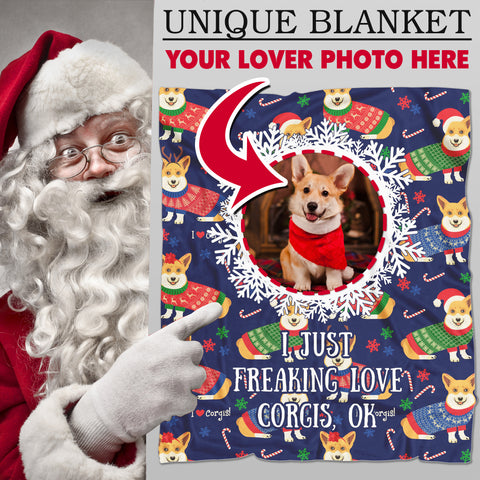 Image of I JUST FREAKING LOVE CORGIS, OK - Personalized Blanket