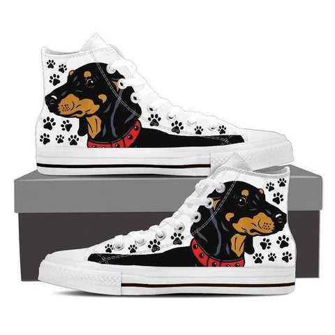 Image of Dachshund High Top Shoes -  High Top Canvas Shoes - EZ9 STORE