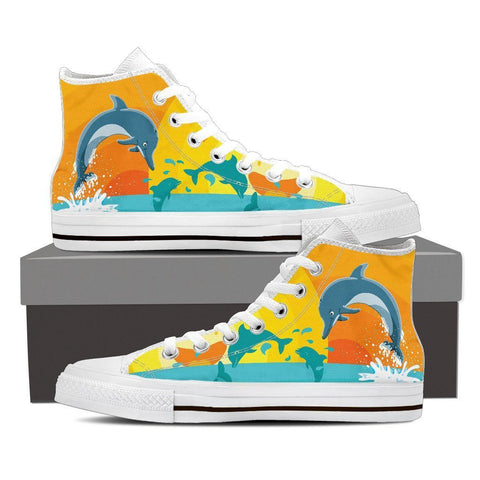 Image of Dolphin Lover - Women High Top Canvas Shoe -  High Top Canvas Shoes - EZ9 STORE