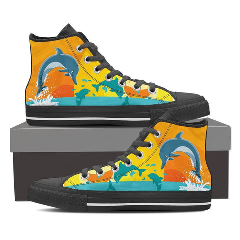 Dolphin Lover - Women High Top Canvas Shoe -  High Top Canvas Shoes - EZ9 STORE