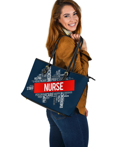 Image of Nurse Word Cloud Large Leather Tote Bag