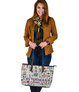 Veterinary Large Leather Tote Bag