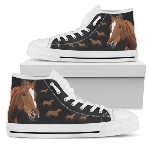 Image of Horse High Top Canvas Shoes -  High Top Canvas Shoes - EZ9 STORE