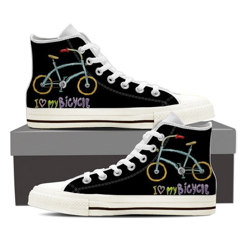 "Image of ""I Love My Bicycle"" High Top Canvas Shoes -  High Top Canvas Shoes - EZ9 STORE"