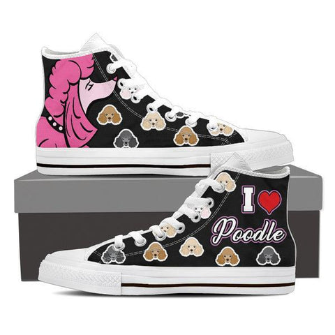 Image of I Love Poodle Shoes -  High Top Canvas Shoes - EZ9 STORE