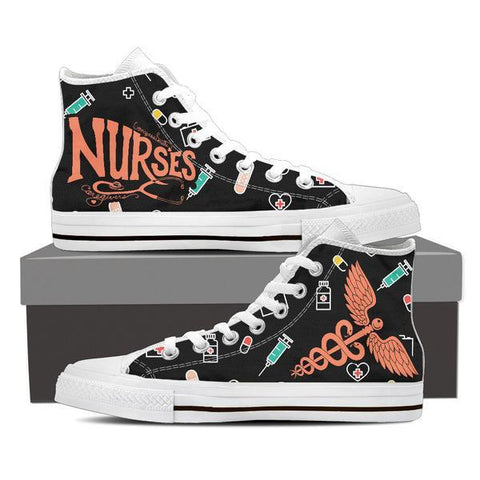 Image of Nurses High Top Canvas Shoes -  High Top Canvas Shoes - EZ9 STORE