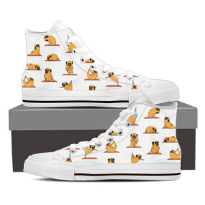 Pug Yoga - Women's High Top Canvas Shoes -  High Top Canvas Shoes - EZ9 STORE