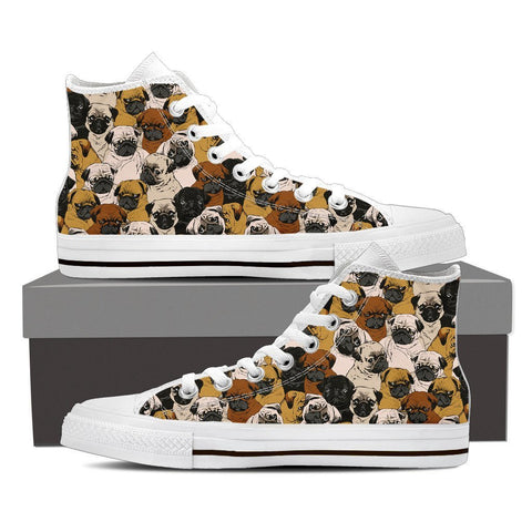 Image of Pugs - Women's High Top Canvas Shoes -  High Top Canvas Shoes - EZ9 STORE