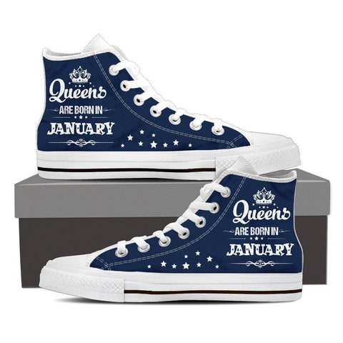 Image of Queens Are Born In January High Top Canvas Shoes -  High Top Canvas Shoes - EZ9 STORE